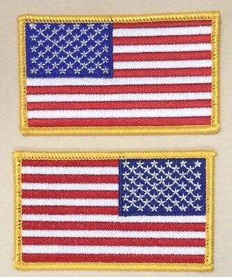 American Flag Patches SET iron on United States Gold Border Military Uniform