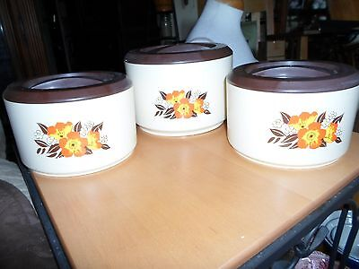 Vintage Retro 70's 3 Hard Plastic Kitchen Canisters Harvest Gold Brown Flowers