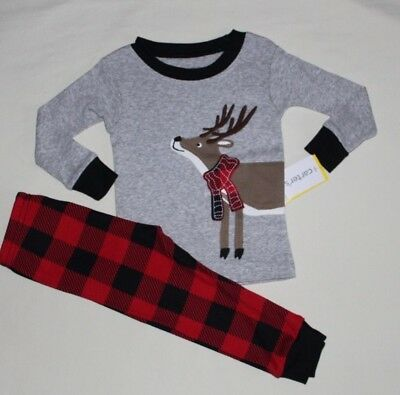 2d1bebef33f1 NEW~CARTERS TODDLER BOY Gray Reindeer (Christmas) Cotton 2 Pc ...