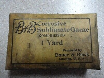 Original WWI Bauer & Black Corrosive Sublimate Gauze 1917 Ambulance Medical gear