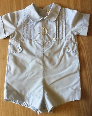 Vintage 1970's / 1980's Baby Boy Romper, With Embroidered Bird Royal Style Chic