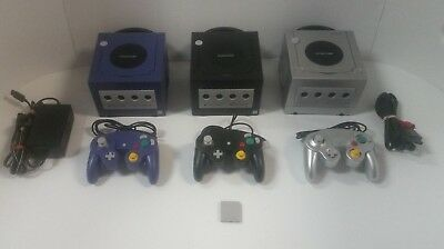 Nintendo Gamecube System Console Black Indigo Silver CLEANED AND TESTED