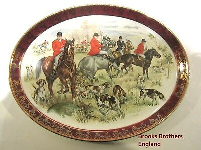 "Vintage English Hunt Scene Platter Made in England for Brooks Brothers 12"" by 9"""
