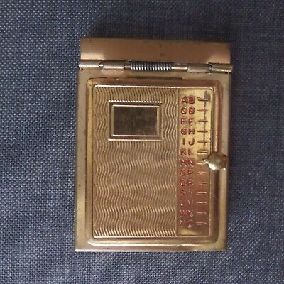 miniature vintage telephone address book gold tone metal rolodex
