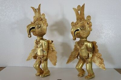 Large Original Colombian Gold-Copper Tairona Tumbaga Macaw Mythical Pair