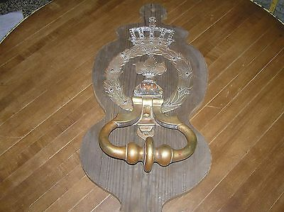 "Antique Brass Door Knocker Ornate 18""long X 8 7/8"" Wide Beautiful Patina"