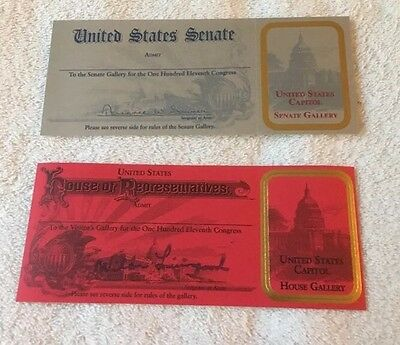 US Senate/US House-111th Congress-Visitor Gallery Pass-For Collector Purpose