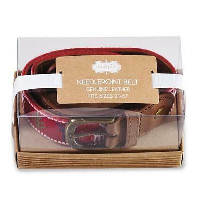 Mud Pie 2-5T Holiday Needlepoint Reindeer Leather Belt w/ BONUS Reindeer Bow Tie