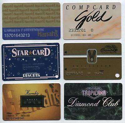 Lot of Six Different 1990s ASSORTED ATLANTIC CITY Casinos Slot Cards