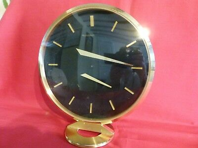 VERY RARE 1960's JAEGER LECOULTRE FLOATING HANDS 8 DAY MANTLE OR TABLE CLOCK.