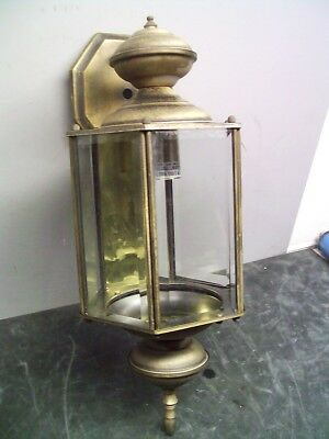 Brass Beveled Glass Carriage House Entry Lamp Light Nice Patina