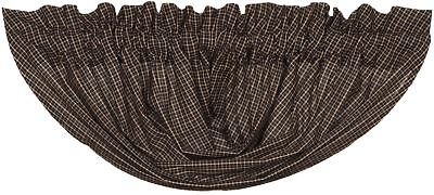 "60"" W Black Plaid Balloon Valance 15"" Drop Cotton Lined Country Kettle Grove"