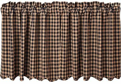 """Black & Tan Check Scalloped Cafe Curtains Countrytyle Window Tier Set 24"""" L"""