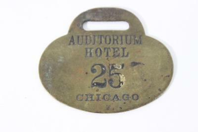 Vintage WW Wilcox Auditorium Chicago Brass Room Key Fob 25 RARE GREAT 4 OOAK !
