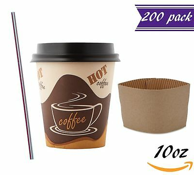 (200 Sets) 10oz Disposable Coffee Cups with Dome Lids and Sleeves BONUS Stirrers