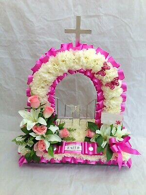 Artificial Silk Funeral Flower Gates of Heaven Wreath Memorial Tribute Dad Mum