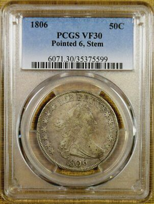 1806 O-119 PCGS VF30 Draped Bust Half Dollar