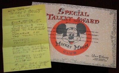 Mickey Mouse Club Talent Certificate + Walt Disney Handwritten Notes 1955 2003