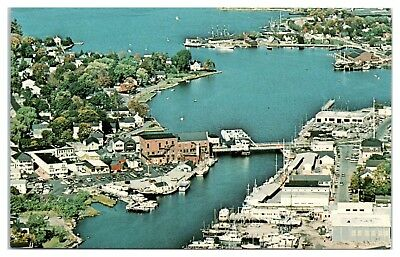 1950s/60s Aerial View of Mystic, CT Postcard
