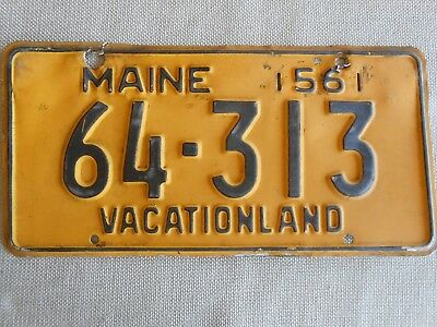 Maine License Plate 1956  Vacationland # 64-313