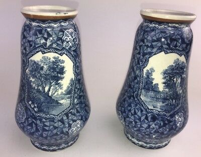 Pair Of Vintage Antique Villeroy & Boch Bonn Flo Blue Mantle Vases