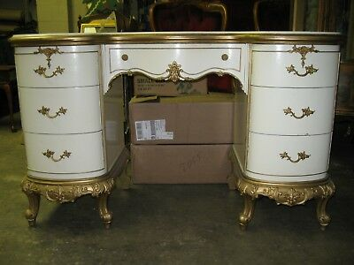 Darling White and Gold Desk or Vanity - French Style