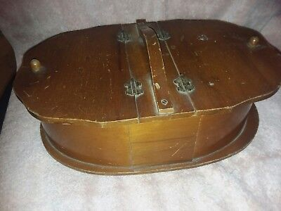 Vintage Wooden Sewing Box Basket w/ Lots of  Notions ~double open lids~ handle