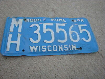 Vintage Wisconsin WI 80s Mobile Home License Plate MH35565 Blue Garage Man Cave