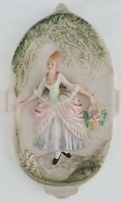 CHASE VICTORIAN WOMAN 3D Hand Painted Wall Hanging Plaque Occupied Japan Vintage