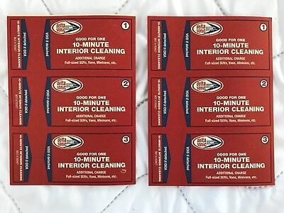 6 Delta Sonic Car Wash 10-minute Interior Cleaning Certificates-never expire