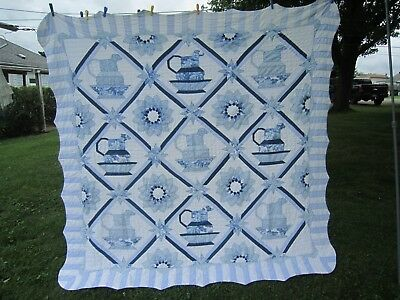 "Vintage Amish Hand Sewn Cotton Shades of Blue Floral & ?? QUILT 80"" x 82"