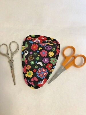 Colorful Flowers &  Hearts Quilted embroidery scissor holder