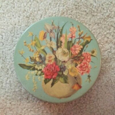 Vintage Metal Tin Light Blue Basket of Wildflowers Round