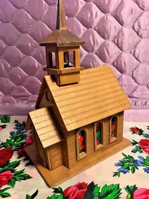 Vintage Christmas Cathedral Music Box Stained Glass Moving Bell Decor Church