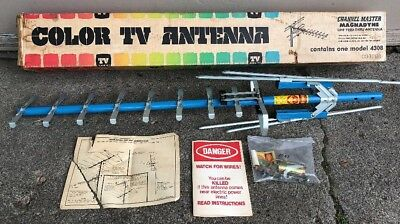 NOS! Mid Century Blue Aluminum Outdoor Color TV Antenna Channel Master Vintage
