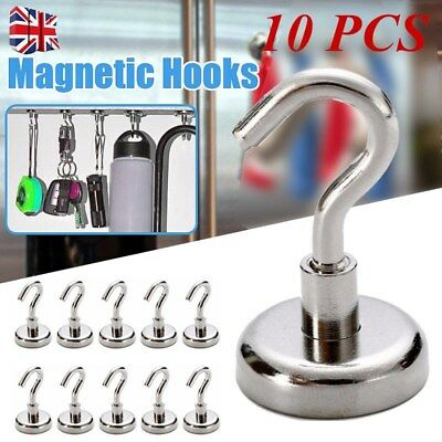 10Pcs D16 16mm Ferrite Magnetic Hooks Neodymium Hold Strong Magnet Hanger