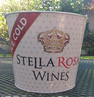 New Stella Rosa Wines Ice Bucket Tin Pail Tailgate Party Bar Wine/Beer Holder