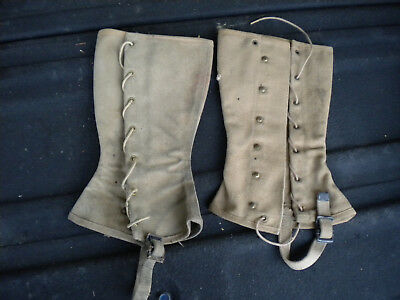 Vintage WWII WW2 US Navy Military Canvas LEGGINGS SPATS GAITERS USN