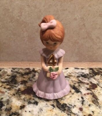 1983 Enesco Growing Up Birthday Girls 4th BIRTHDAY Porcelain FIGURINE Brunette