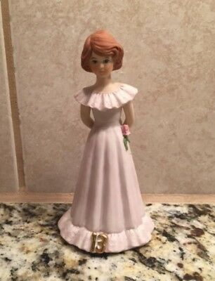 Growing Up Birthday Girls 13th BIRTHDAY Porcelain FIGURINE Brunette