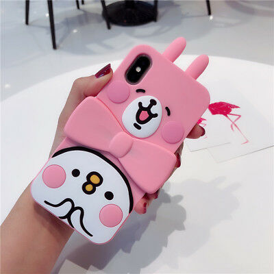 3D Cartoon Rabbit Cute Silicone Rubber Phone Case Cover For iPhone X 8 7 6S Plus