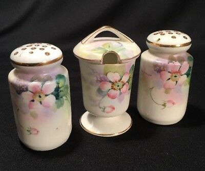 Vintage Hand Painted Nippon Porcelain Condiment Set | Shakers / Mustard Pot