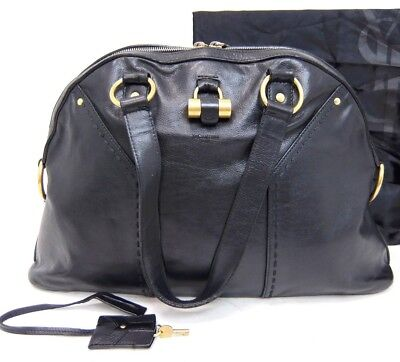 b303d713f1dc Authentic YVES SAINT LAURENT YSL MUSE Black leather Tote bag Italy w dust  bag