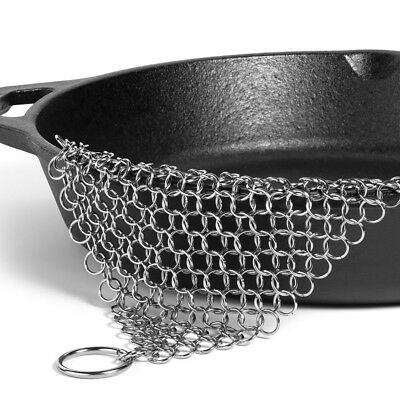 Cast Iron Scrubber Pan Cleaner Pad Ringer Stainless Steel Chain mail XL 6 x 6""