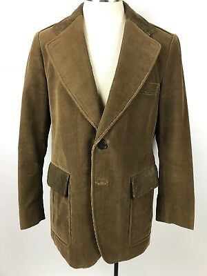 VTG Mens Cortefiel sz 39R brown corduroy sport coat jacket leather trim Spain