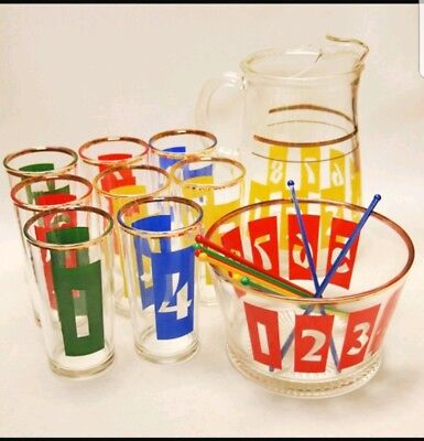 Mid Century Drinks By Numbers vintage 1950's Glass barware