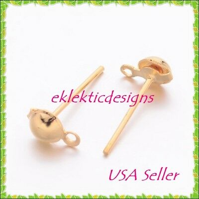 40pcs 4mm Gold Plated Half Ball Stud Posts w/hole Earrings Jewelry Findings 20pr