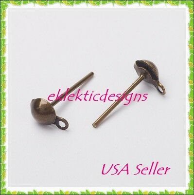 20pcs 4mm Antique Bronze BRASS Half Ball Stud Posts Earrings 10pr Findings