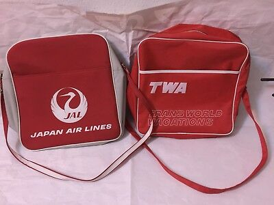 Japan Airlines TWA Carry On Bag Lot Vintage MOD Fashion Women's Fast Fashion