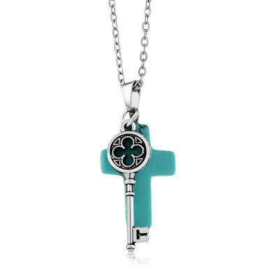 """Beautiful Cross Shape  Simulated Turquoise  Pendant With Key Charm On 18"""" Chain"""